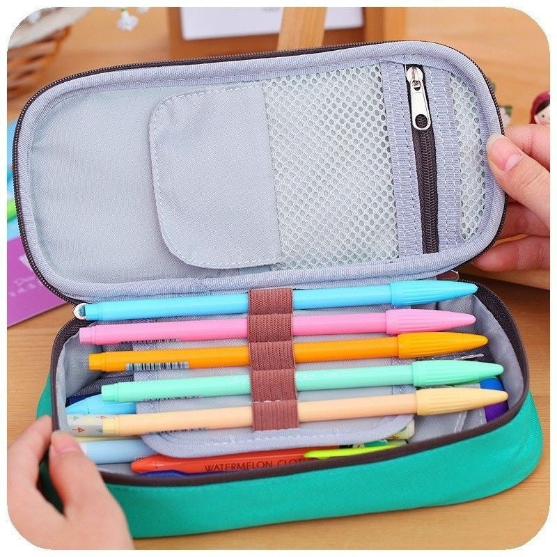 Student Canvas Pen Bag Pencil Case Cosmetic Bags Travel Makeup Organizer Bags