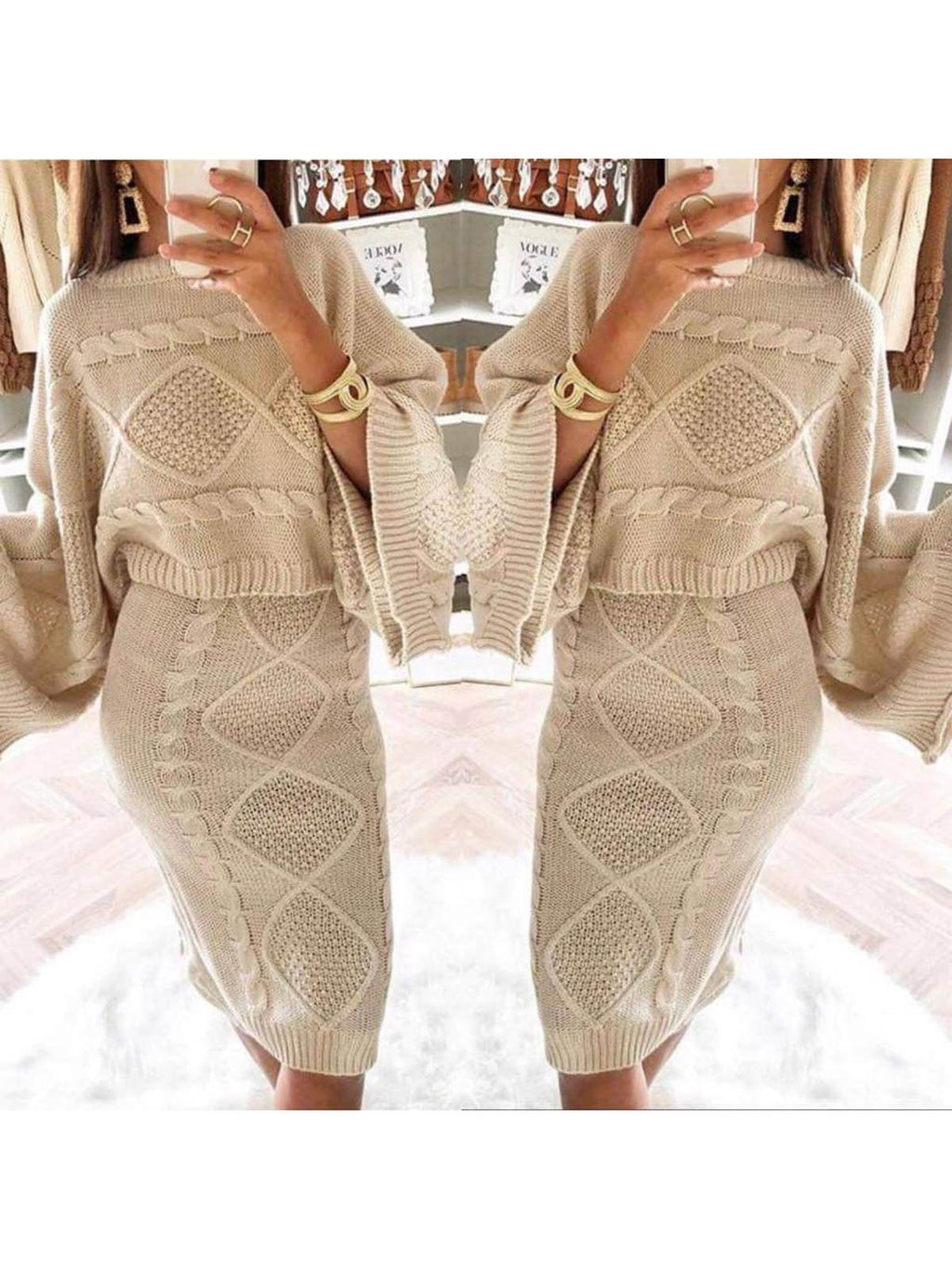 Women's Stylish Two Piece Casual Warm Knit Wears Sets Jumpsuits