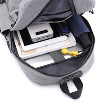 Multi-functional Canvas Coded Lock USB Interface Charging Earphone Hole Backpacks