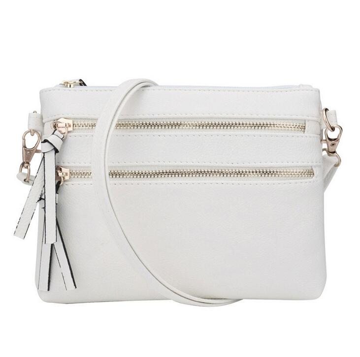 Multi Zipper Pocket Small Wristlet Crossbody Bag for Women