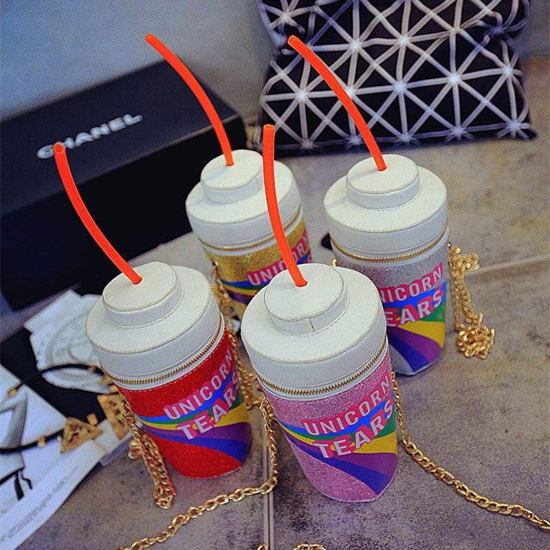 Novelty Designer Handbags Unicorn Tears Bag Women Personalized Drink Soda Bottle Shoulder Bag