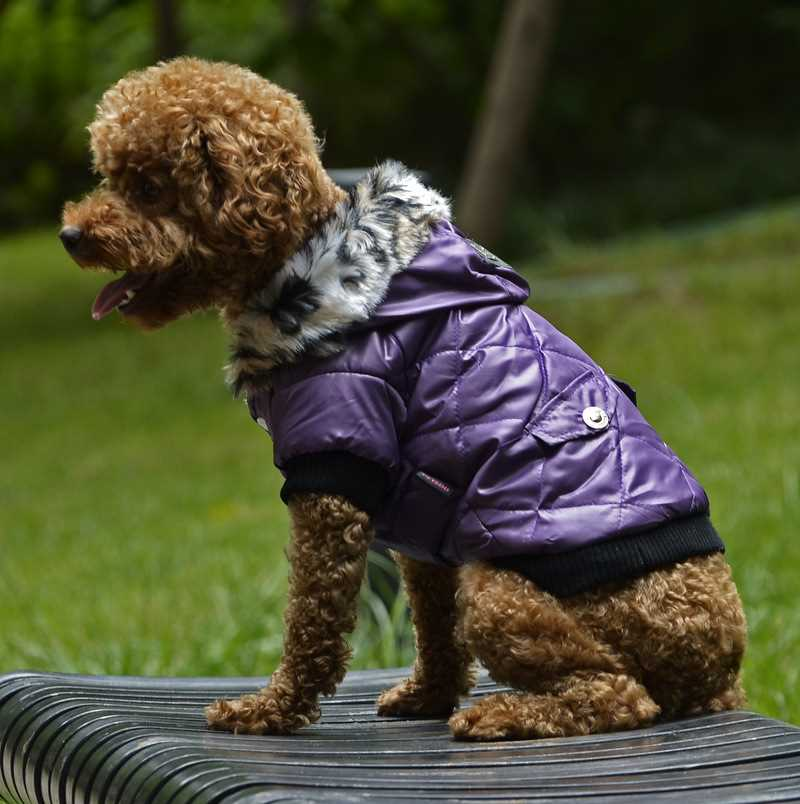 Warm Coat Pet Faux Pockets Fur Trimmed Dog Puppy Hoodie Jacket Costume