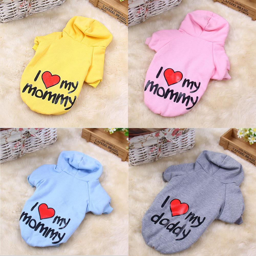 Four Seasons Dog Sweatshirts 100% Cotton Pet Clothing I Love My Mommy PET Puppy Coat with Hood Small Dogs Clothes