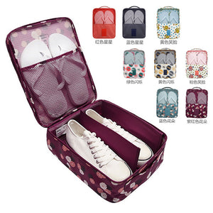 600D Oxford Cloth Double Layer Travel Shoes Storage Bag Box Waterproof