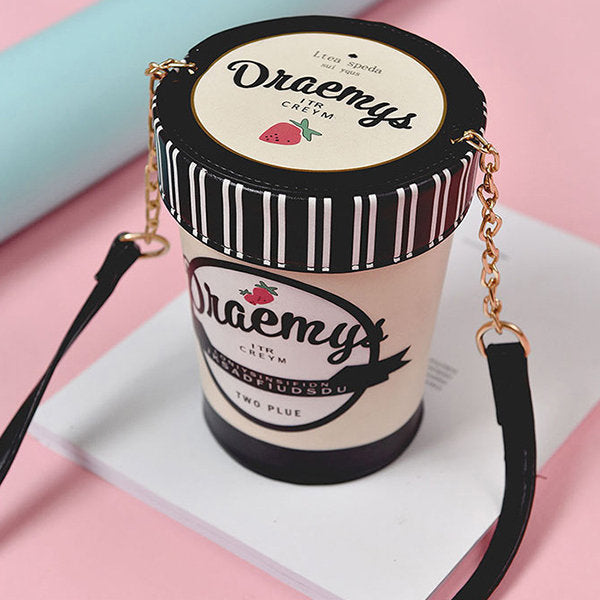 Women Creative Strawberry Ice Cream Bucket Bag Chain Shoulder Bag Crossbody Bag