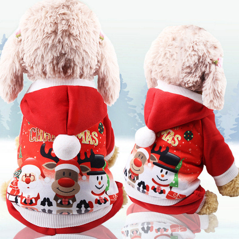 Christmas Pet Dog Hoody Costume Puppy Warm Coat Christmas Gift