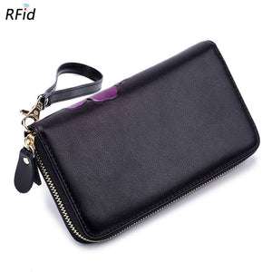 2018 Brenice RFID Bauhinia Flower Clutches Bags 8 Zipper Card Holder Coin Purse
