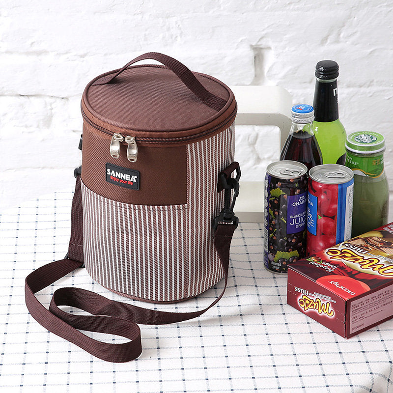 Large Portable Insulation Bag Striped Backpack Outdoor Picnic Bag