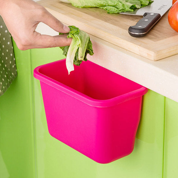 Kitchen Trash Can Cabinet Door Hanging Plastic Garbage Bucket Multifunctional Desktop Storage Box