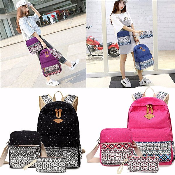 Canvas Tribal 3Pcs Rucksack Crossbody Bag Tote Casual Bags for Ladies