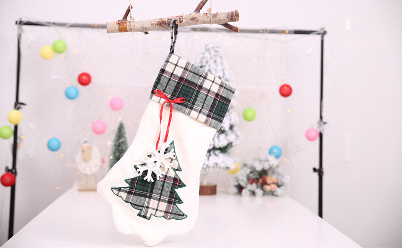 Christmas Sock Gift Bag Dog Paw Pendant Christmas Decoration Candy Bag