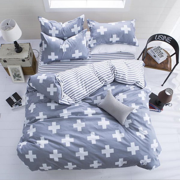 4pcs Polyester Fiber Western Style Reactive Printing Bedding Sets Quilt Duvet Cover
