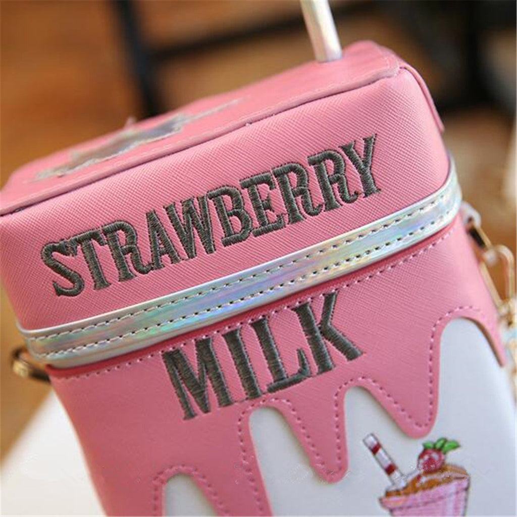 Girls PU Leather Milk Box Mini Crossbody Bag Embroidery Phone Bag