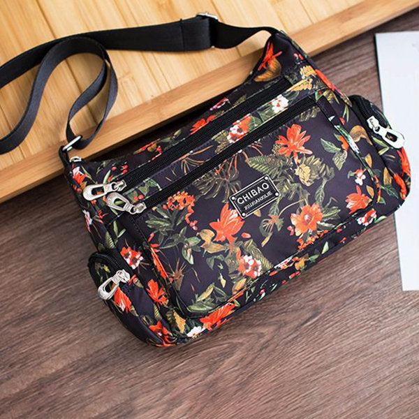 Women Waterproof Crossbody Bag Flower Nylon Shoulder Bag
