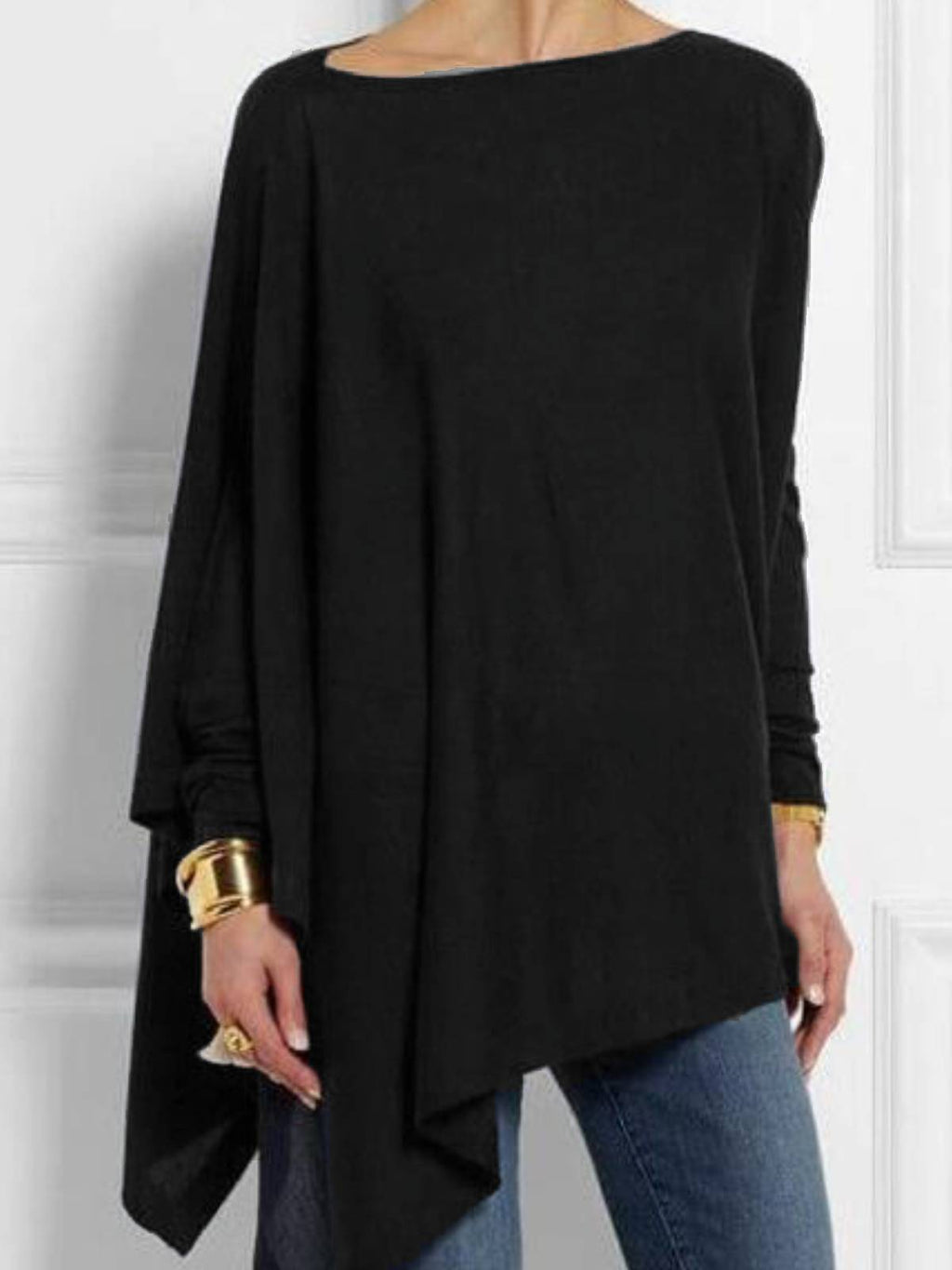 Long Sleeve Round Neck Cotton-Blend Casual Shirts & Tops