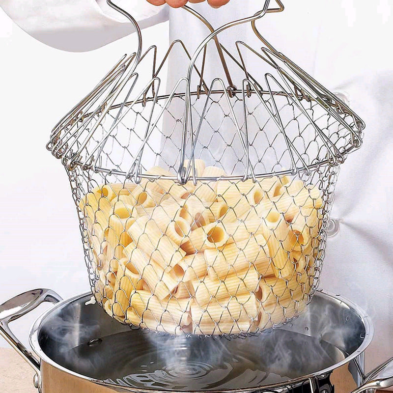 Stainless Steel Foldable Steam Rinse Strain Fry Basket Kitchen Cooking Tool for Fried Food or Fruits