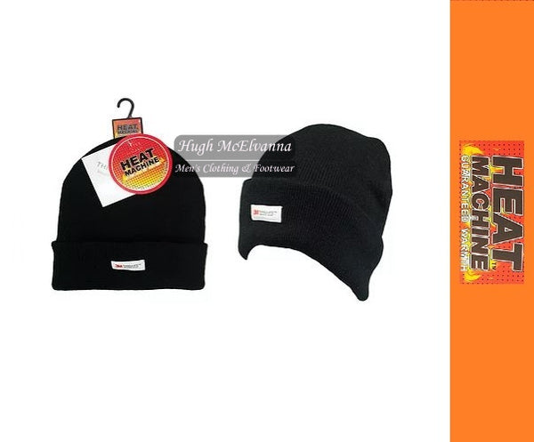 Black 3M Thermal Lined Beanie Hat by Heat Machine