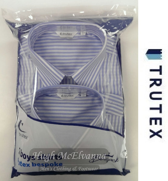 Boys Twin Pack 6th Year Stripe Shirts With Pocket Front by Trutex - Hugh McElvanna Menswear