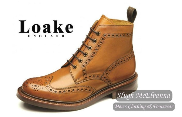 Loake Laced Derby Brogue Boot Style: BEDALE - Hugh McElvanna Menswear
