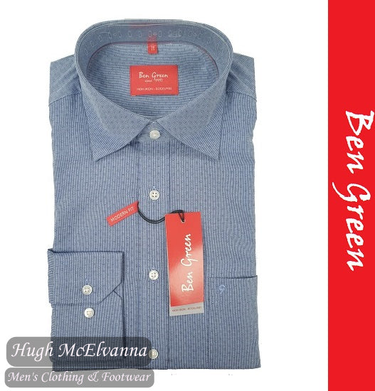 Self Design Blue Long Sleeve Shirt by Ben Green Style: 40040/11