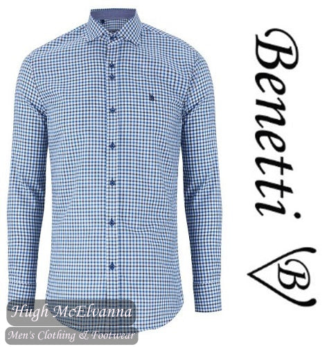 Benetti Teal Long Sleeve Check Shirt Style: CONOR