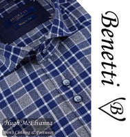 Benetti Navy Long Sleeve Check Shirt Style: TANNER