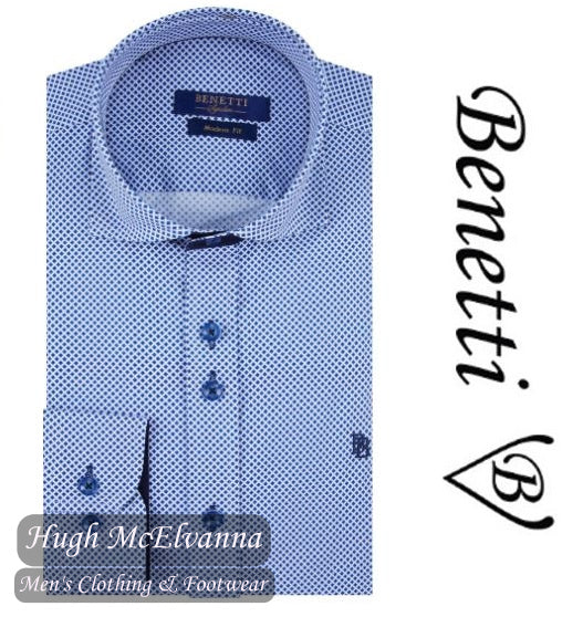 Benetti Blue Long Sleeve Design Shirt Style: PARKER