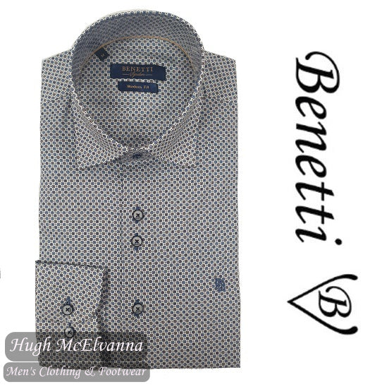 Benetti Beige Long Sleeve Patterned Shirt Style: Turner