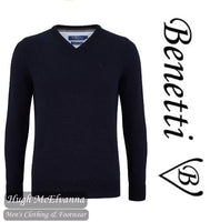 Benetti Navy V/N Cotton Cashmere Touch Pullover