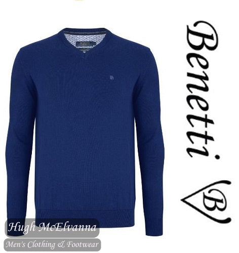 Benetti Royal Blue V/N Cotton Cashmere Touch Pullover