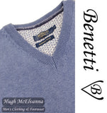 Benetti Smoke Blue V/N Cotton Cashmere Touch Pullover