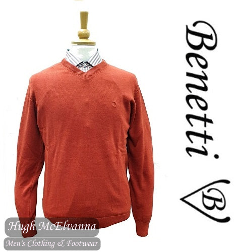 Benetti Sunset Rust V/N Cotton Cashmere Touch Pullover