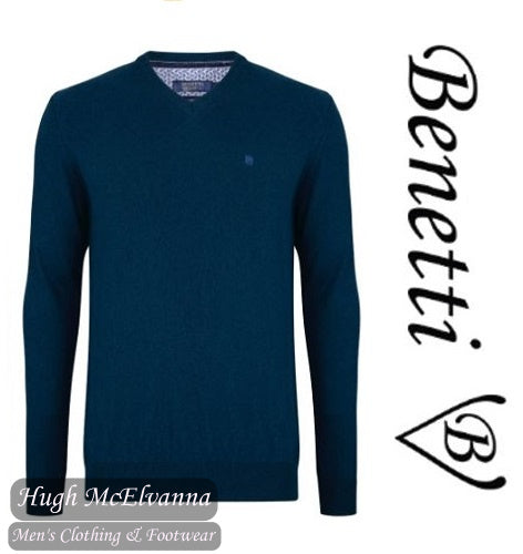 Benetti Teal V/N Cotton Cashmere Touch Pullover