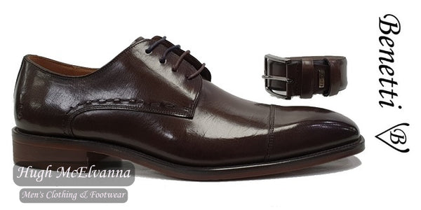 Brown Laced Shoe With FREE Matching Belt by Benetti® Style: ARTHUR - Hugh McElvanna Menswear