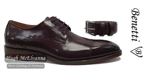 Burgundy Laced Shoe With FREE Matching Belt by Benetti® Style: ARTHUR - Hugh McElvanna Menswear