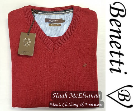 Benetti Plain 100% Cotton V-Neck - 25 Colour Options - Hugh McElvanna Menswear
