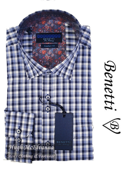 Benetti Check Long Sleeve Regular Fit Shirt Style: PABBLE - Hugh McElvanna Menswear