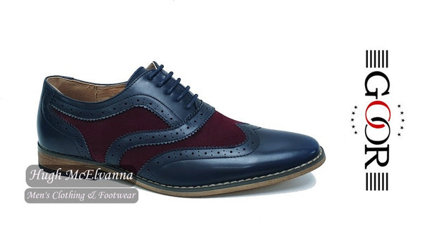 Boys 2 Tone Navy Laced Brogue by Goor Style: 994