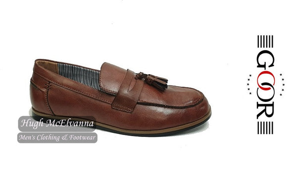Boys Brown Slip On Shoe With Tassle Design by Goor Style: 996