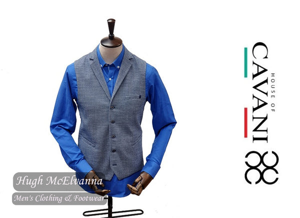 CAVALO Blue Woven Design Waistcoat by House Of Cavani