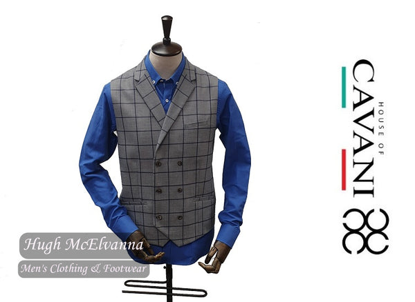 MACY Double Breasted Grey Check Waistcoat by House Of Cavani