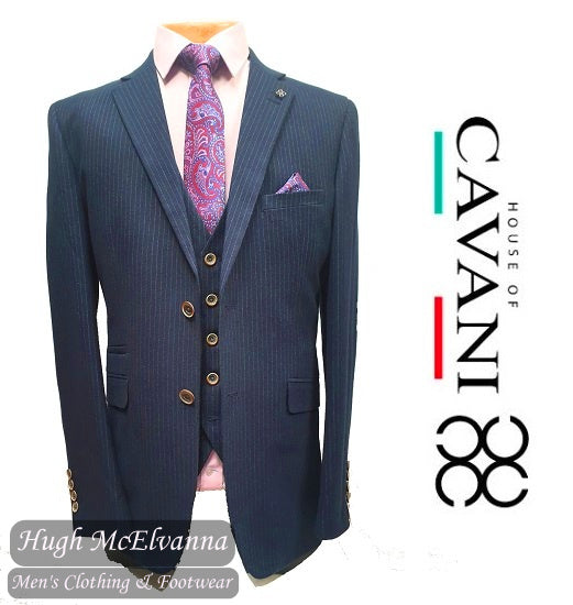 Fashion Pin Stripe Stretch 3Pc. Suit by House Of Cavani Style: ROSELLI