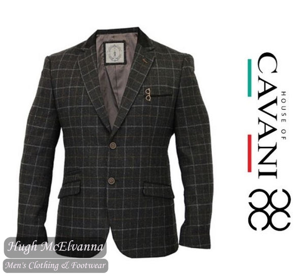 'VITORI' Charcoal Grey Check Blazer by House Of Cavani