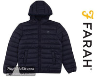 Navy Hooded Puffa Jacket by Farah Style: Clarence FARF9037