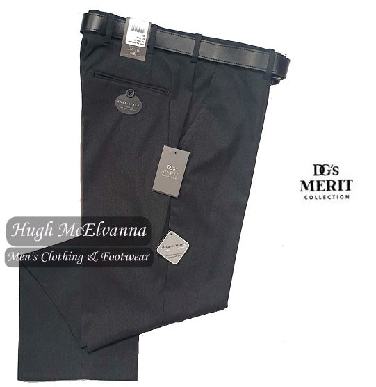 Cavalry Twill Charcoal Grey Expandable Waist Trouser by DGs Merit Style 71686/08