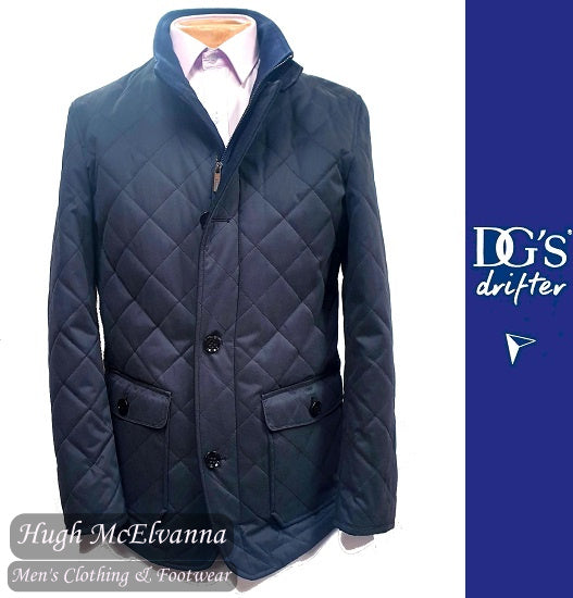 'BENTFORD' Navy Quilted Car Coat by Drifter Style: 80116/78