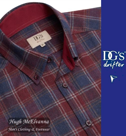 Drifter Long Sleeve Check Shirt Red Style No: 15548/67