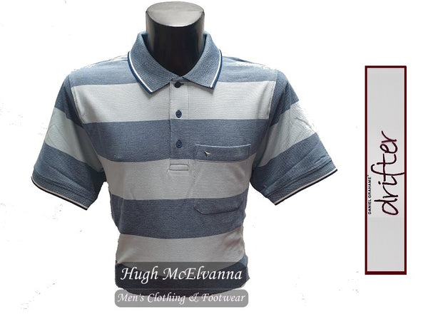 Stripe Sky Blue Polo Shirt by Drifter Style: 55102/22