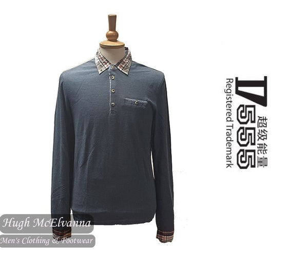 Fashion Blue Long Sleeve Polo by D555 Style: CLARKE
