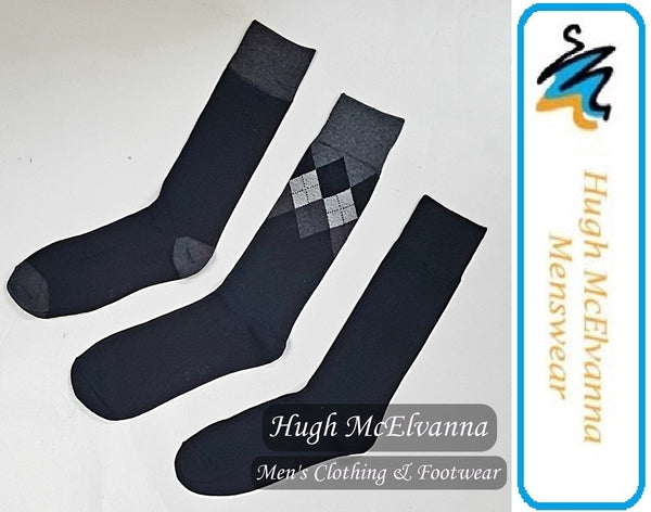 Cotton Rich Black Diamond 3Pk. Sock - Hugh McElvanna Menswear